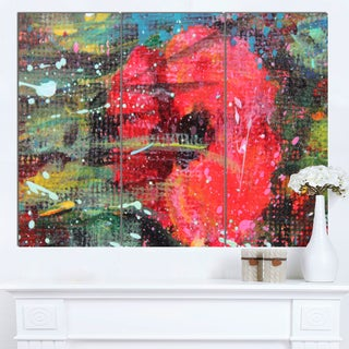 Designart 'Red Poppy Acrylic Drawing' Extra Large Floral Wall Art