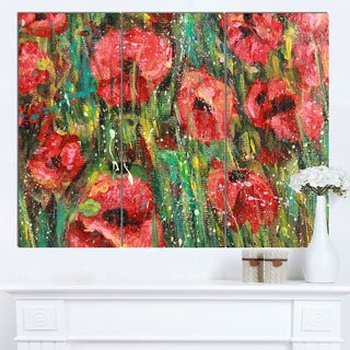 Designart 'Red Poppies Watercolor Drawing' Extra Large Floral Wall Art