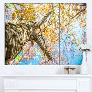 Designart 'Under Branch of Yellow Cherry Tree' Modern Trees Canvas Wall Art