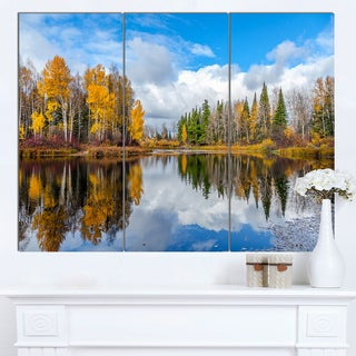 Designart 'Nice Autumn Trees With Forest Lake' Landscape Artwork Canvas Print