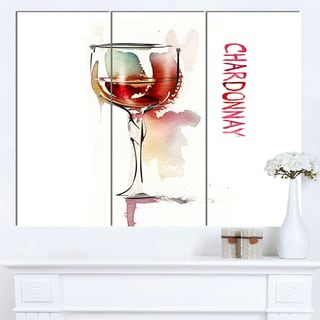 Designart 'Red Wine on White Background' Modern Canvas Wall Art Print