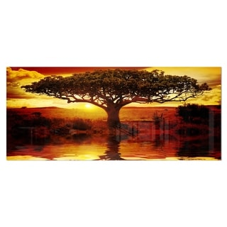 Designart 'Lonely Tree in African Sunset' Oversized African Landscape Metal Wall Art