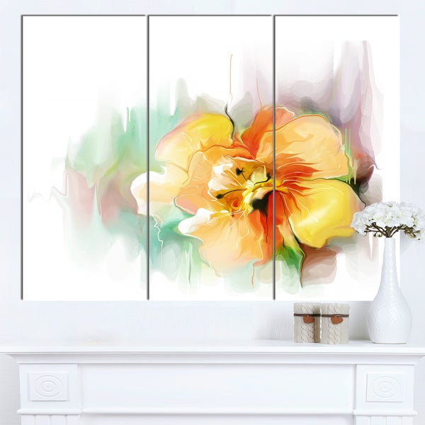 Designart \'Beautiful Yellow Flower Drawing\' Extra Large Floral Wall ...