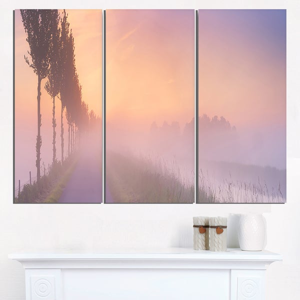 Foggy Sunrise In The Netherlands Extra Large Glossy Metal Wall Art 36wx28h Landscape 36 Wide X 28 High 3 Panels Free Shipping Today