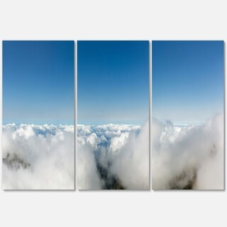 Bright Blue Sky above Clouds - Contemporary Landscape Glossy Metal Wall Art - 36Wx28H