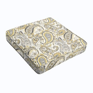 Grey Gold Paisley Square Cushion - Corded