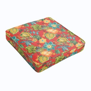 Red Tropical Square Cushion - Corded