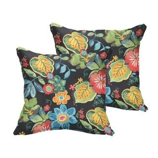 Selena Black Tropical Indoor/ Outdoor Flange Square Pillows