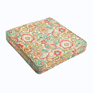 Red Rio Floral Square Cushion - Corded