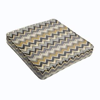 Grey Gold Chevron Square Cushion - Corded