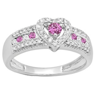 10k Gold 1/2ct TW Pink Sapphire and White Diamond Accent Bridal Promise Engagement Ring (H-I, I1-I2)