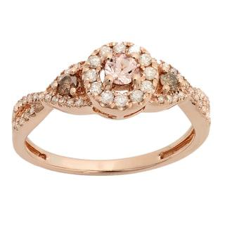 10k Rose Gold 5/8ct TW Morganite, Champagne, and White Diamond 3-stone Halo Ring (H-I, I1-I2)