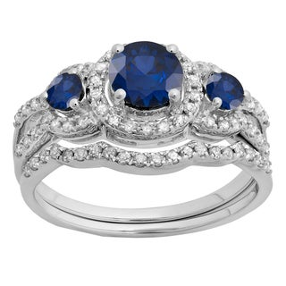 14k Gold 1 3/8ct TW Round Blue Sapphire and White Diamond 3-stone Bridal Engagement Ring Set (H-I, I1-I2 )