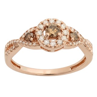 10k Rose Gold 1/2ct TW Round Champagne and White Diamond 3-stone Swirl Halo Engagement Ring (H-I, I1-I2)