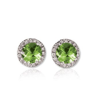 14k White Gold Green Peridot and 1/4ct TW White Diamond Halo Stud Earrings (H-I, I1-I2)