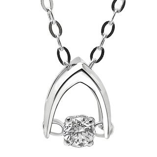 De Buman 18k White Gold 1/20ct TDW Solitaire Diamond Pendant Necklace (G-H, SI1-SI2)