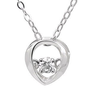 De Buman White Gold 1/20ct 'Dancing' Diamond Pendant Necklace