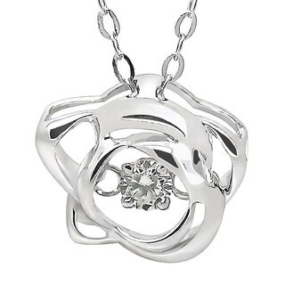 De Buman White Gold 1/20ct TDW 'Dancing' Diamond Pendant Necklace