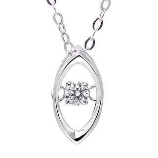De Buman 18k White Gold 1/20ct TDW Solitaire Diamond Pendant Necklace