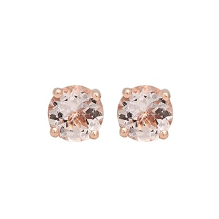 10k Rose Gold 3ct TW Round-cut Morganite Solitaire Stud Earrings