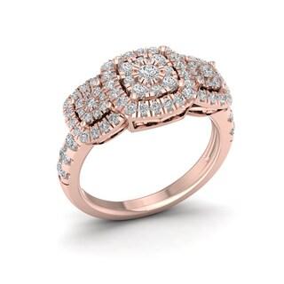 De Couer 14k Rose Gold 1ct TDW Diamond Cluster Ring