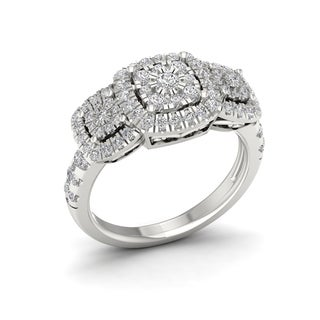 De Couer 14k White Gold 1ct TDW Diamond Cluster Ring