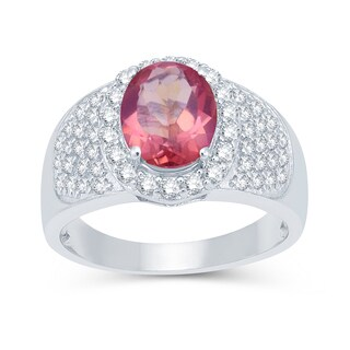 Sterling Silver 3.49ctw Pink Topaz and White Topaz Halo Ring