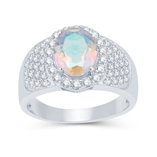 Sterling Silver 3.53ctw Opal Topaz and White Topaz Halo Ring