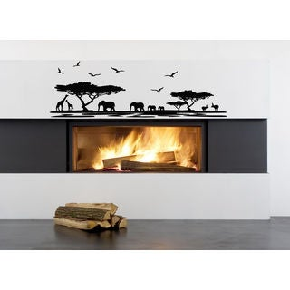 African Safari Wall Decal Vinyl Stickers Decals Animal Vinyl Sticker Decal size 22x35 Color Black