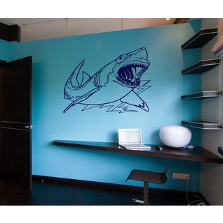 Shark Ocean Wall Decal Vinyl Stickers Decals Animal Wall Vinyl Sticker Decal size 33x39 Color Black
