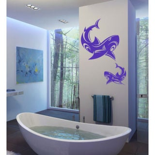 Shark Ocean Wall Decal Vinyl Stickers Decals Animal Wall Vinyl Sticker Decal Size 22x30 Color Purple