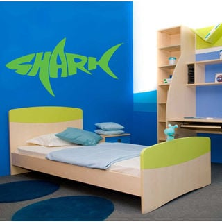 Shark Ocean Wall Decal Vinyl Stickers Decals Animal Wall Vinyl Sticker Decal size 48x76 Color Black