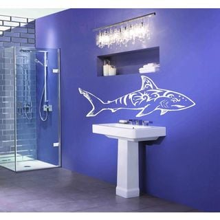 Shark Ocean Wall Decal Vinyl Stickers Decals Animal Wall Vinyl Sticker Decal Size 22x30 Color White