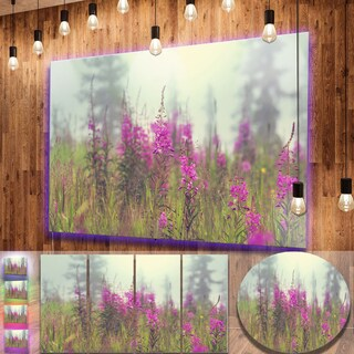 Designart 'Purple Summer Flowers in Foggy Field' Floral Metal Wall Panel