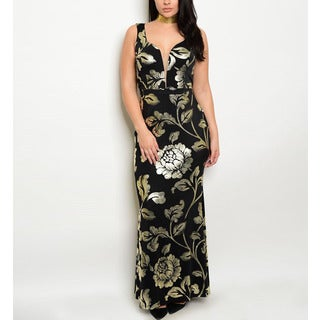 JED Women's Black and Gold Polyester and Spandex Plus-size Plunging-neckline Metallic Floral-print Long Gown