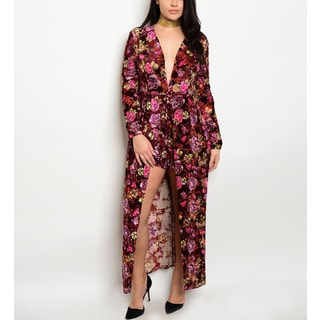 JED Women's Plus-size Long-sleeve Plunging Neckline Floral Nylon, Polyester, Spandex Romper Jumpsuit
