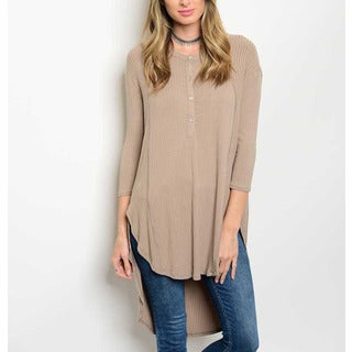 JED Women's Taupe Rayon and Spandex 3/4-sleeve Ribbed Soft Longline Tunic Top