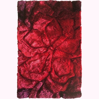 "Mandara Hand-Woven Contemporary Floral Pattern Shag Rug (2'6""x4)"