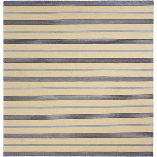 "Mandara Flatweave Contemporary Stripe Pattern Reversible Wool Rug (6'x5'10"")"