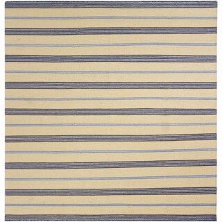 "Mandara Flatweave Contemporary Stripe Pattern Reversible Wool Rug (6'x5'10"")"