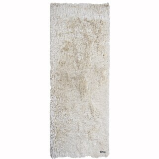 "Mandara Hand-Woven Contemporary Solid Pattern Shag Rug (3'x11'6"")"
