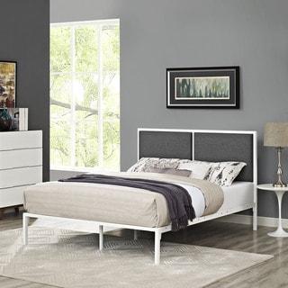 Della Fabric Bed in White Gray