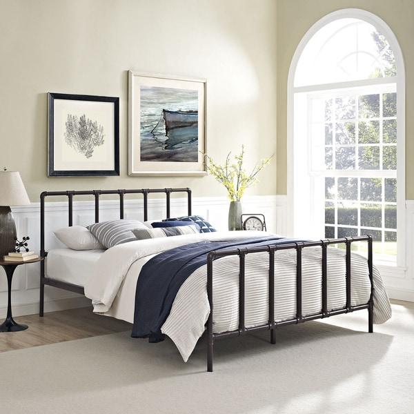 Dower Brown Industrial Pipe And Socket Platform Bed