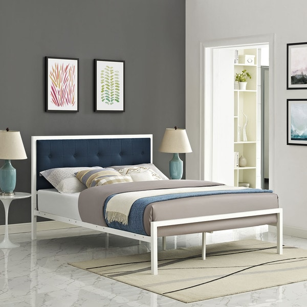 Lottie Azure Button Tufted Fabric White Bed Frame