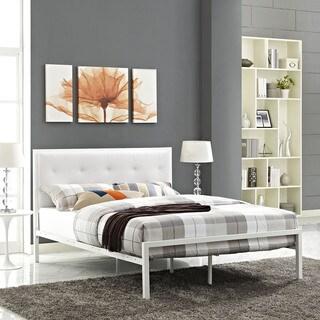 Lottie White Vinyl Platform Bed