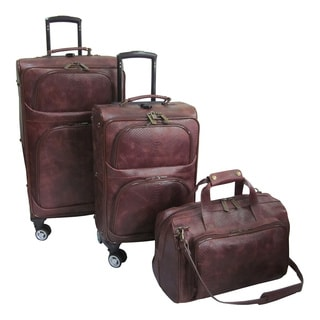 Amerileather Brown Leather Python-Print 3-piece Spinner Luggage Set