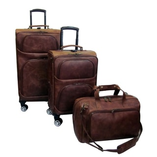 Waxy Brown Leather 3-Piece Spinner Luggage Set