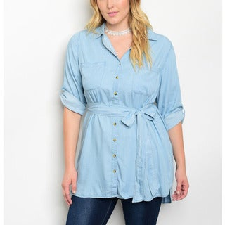 JED Women's Blue Cotton Blend Plus Size Button Down Tunic Shirt