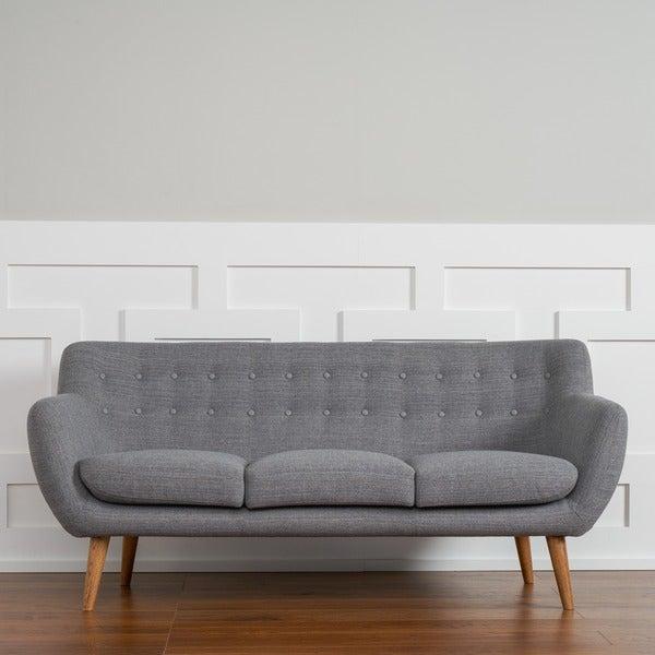 Mid Century Grey Sofa: Shop Rhodes Mid-Century Modern Steel Grey Tufted Sofa By