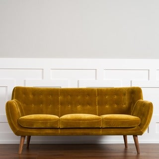 RST Rhodes' Mid-Century Modern Mustard Tufted Sofa